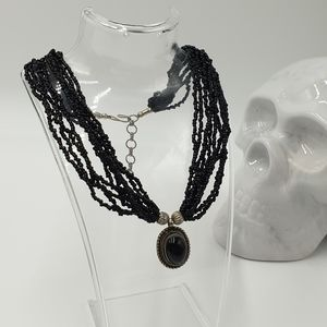 Black Beaded Multi Layer Short Statment Necklace with Black and Silver  Pendant